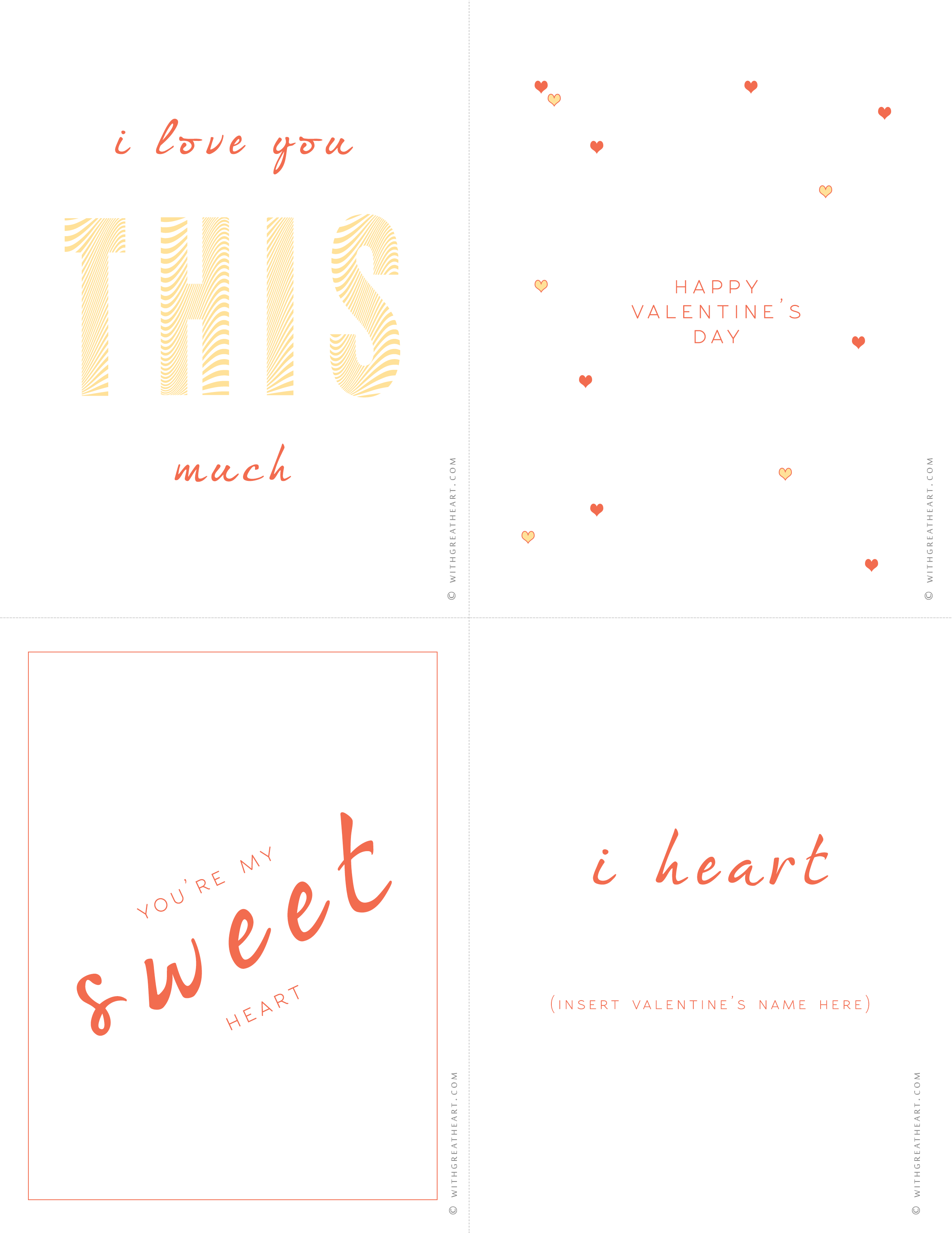 With Great Heart Valentine's Day Printables 2013